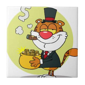 Tigre feliz con la mina de oro azulejo cuadrado pequeño