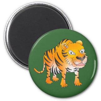 Tigre feliz del dibujo animado imán redondo 5 cm