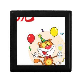 Tigre feliz en fiesta cajas de regalo