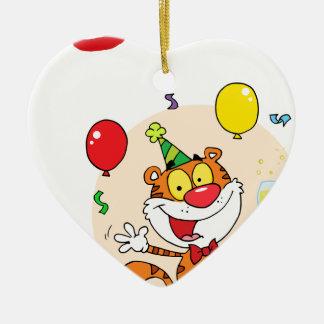 Tigre feliz en fiesta ornamento para arbol de navidad