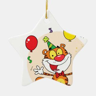 Tigre feliz en fiesta ornamentos de reyes