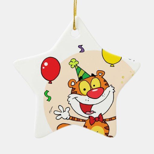 Tigre feliz en fiesta adorno de cerámica en forma de estrella