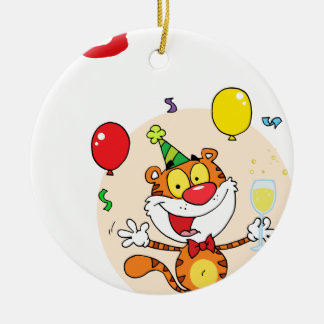 Tigre feliz en fiesta adorno de navidad
