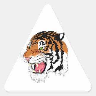 Tigre feroz pegatina triangular