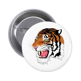 Tigre feroz pin redondo de 2 pulgadas