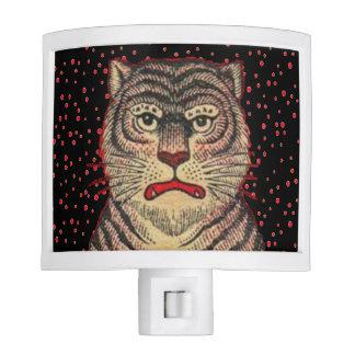 Tigre feroz rayado asiático del vintage lámpara de noche