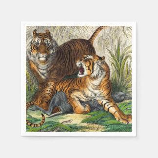 Tigre feroz rayado asiático del vintage servilleta de papel