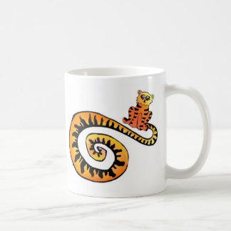 Tigre Kat Mug~ Taza Básica Blanca