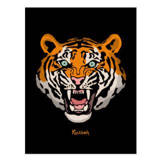 Tigre Kitteh Tarjeta Postal