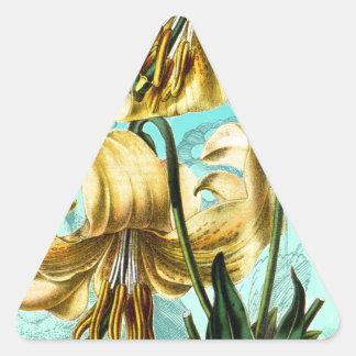 Tigre Lilly en azul Pegatina Triangular