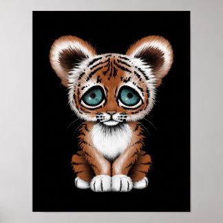 Tigre lindo Cub de bebé con los ojos azules en neg Póster