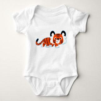 Tigre lindo del dibujo animado en la ropa del bebé poleras