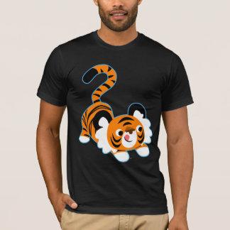 Tigre lindo del dibujo animado listo para jugar la playera
