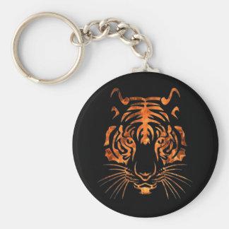 Tigre llameante llavero redondo tipo pin
