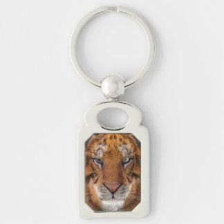 Tigre Llavero Plateado Rectangular