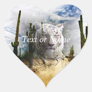 Tigre mágico del blanco de los animales pegatina corazón