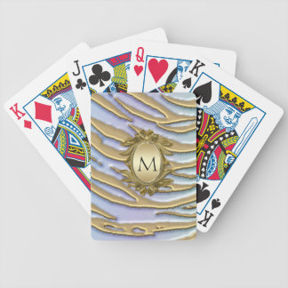 Tigre metálico de la nieve del brillo del oro baraja de cartas