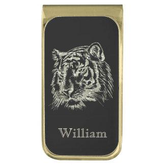 Tigre negro del oro personalizado clip para billetes dorado