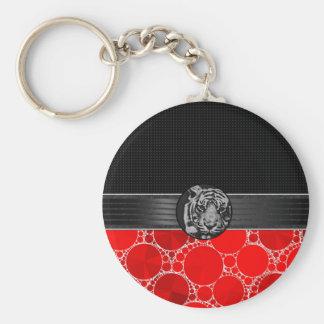 Tigre negro rojo de Bling Llavero Redondo Tipo Pin