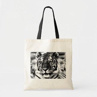 Tigre negro y blanco bolsa de mano