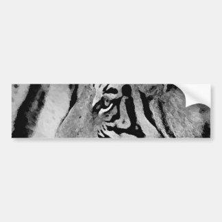 Tigre negro y blanco etiqueta de parachoque