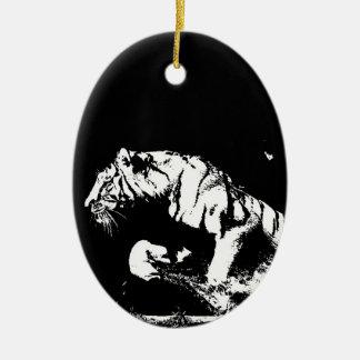 Tigre negro y blanco adorno ovalado de cerámica