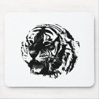 Tigre negro y blanco del rugido alfombrilla de ratones