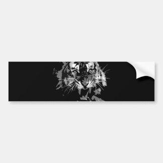 Tigre negro y blanco del rugido pegatina de parachoque