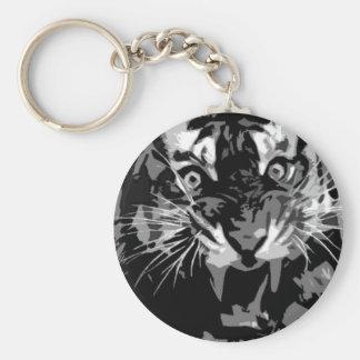 Tigre negro y blanco del rugido llavero redondo tipo pin