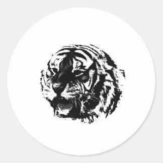 Tigre negro y blanco del rugido pegatinas redondas