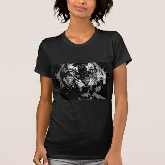 Tigre negro y blanco del rugido poleras