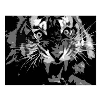 Tigre negro y blanco del rugido postales