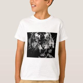 Tigre negro y blanco del rugido remera