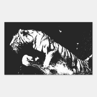Tigre negro y blanco etiqueta