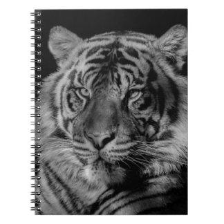 Tigre negro y blanco libro de apuntes con espiral