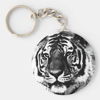Tigre negro y blanco llavero redondo tipo pin