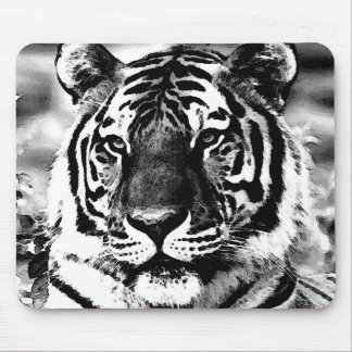 Tigre negro y blanco mouse pads