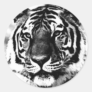 Tigre negro y blanco etiquetas redondas