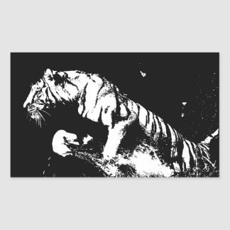 Tigre negro y blanco pegatina rectangular