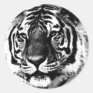Tigre negro y blanco pegatina redonda