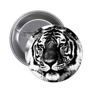 Tigre negro y blanco pin redondo de 2 pulgadas