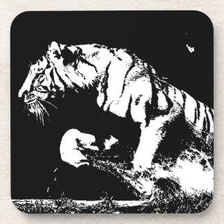 Tigre negro y blanco posavaso