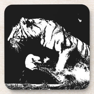 Tigre negro y blanco posavasos