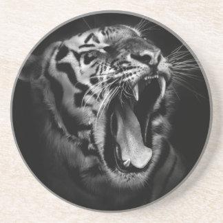 Tigre negro y blanco posavasos de arenisca