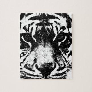 Tigre negro y blanco rompecabezas con fotos