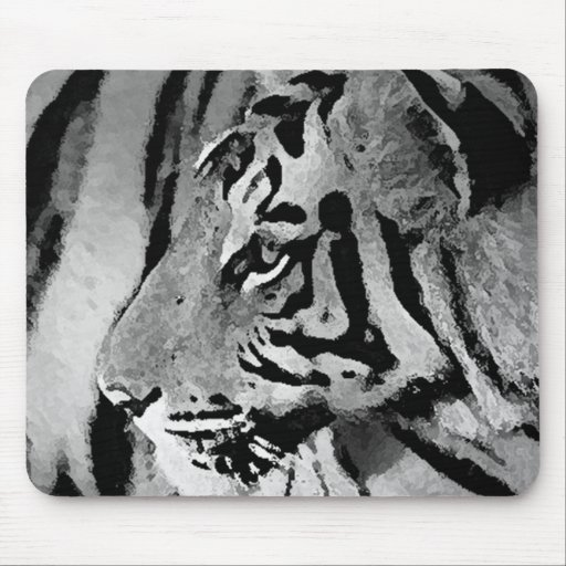 Tigre negro y blanco tapete de ratones