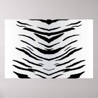 Tigre o cebra blanco rayada póster