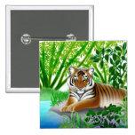 Tigre pacífico en el Pin de bambú de la selva
