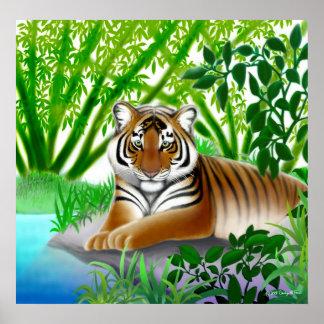 Tigre pacífico en el poster de bambú de la selva