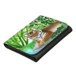 Tigre pacífico en la cartera de bambú del cuero de
